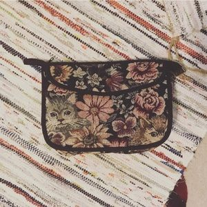 Vintage cat tapestry clutch